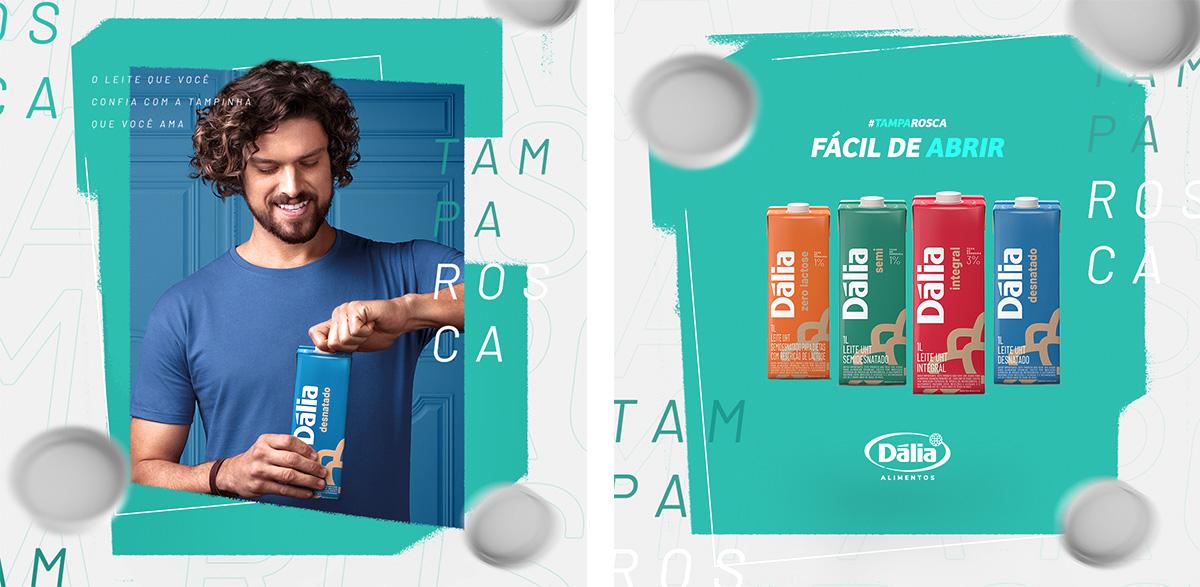 homem leite desnatado instagram agencia toyz publicidade marketing propaganda digital dalia alimentos leite tampinha tampa rosca copy